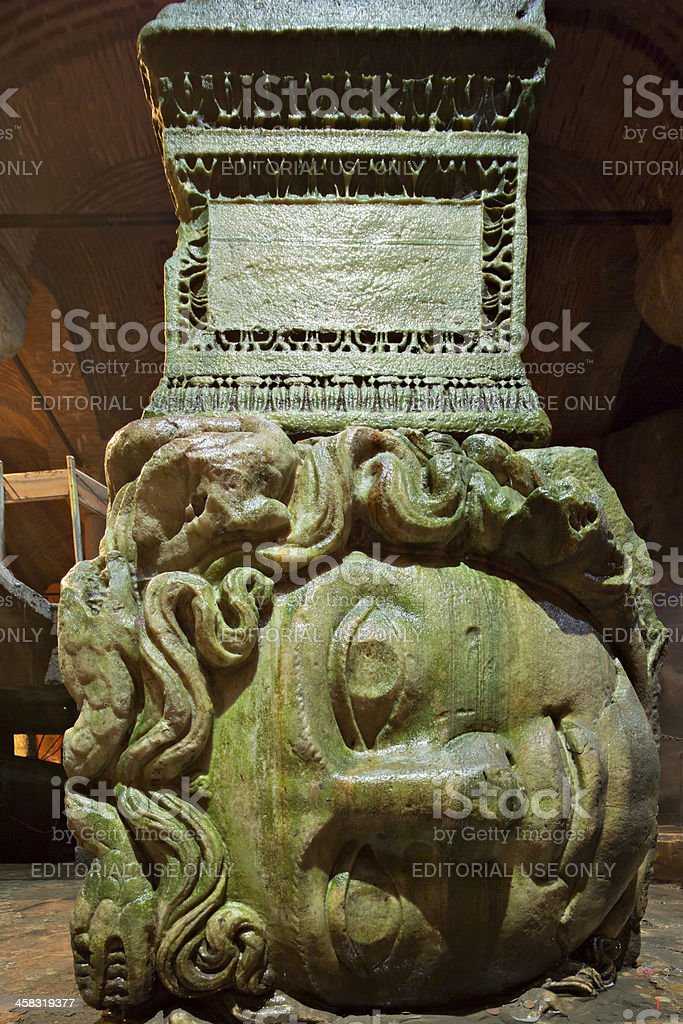 Medusa haed in The Basilica Cistern. Istanbul royalty-free stock photo