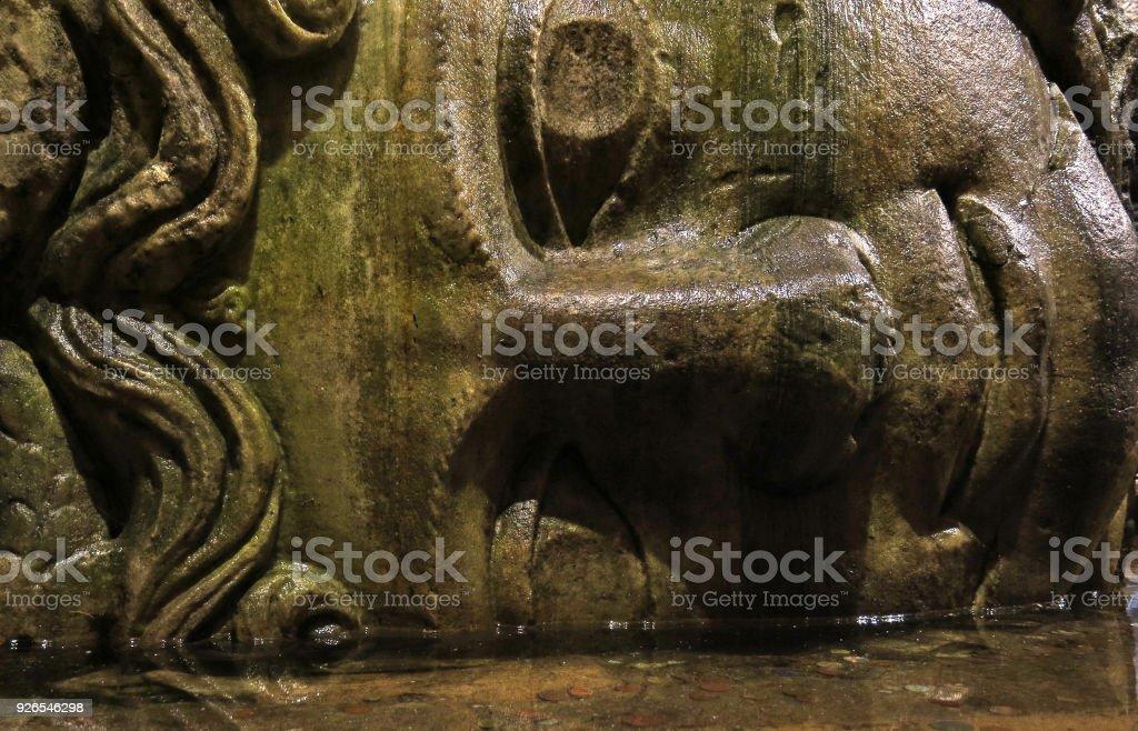 Medusa head in the Basilica Cisterna in Istanbul, Turkey. stock photo