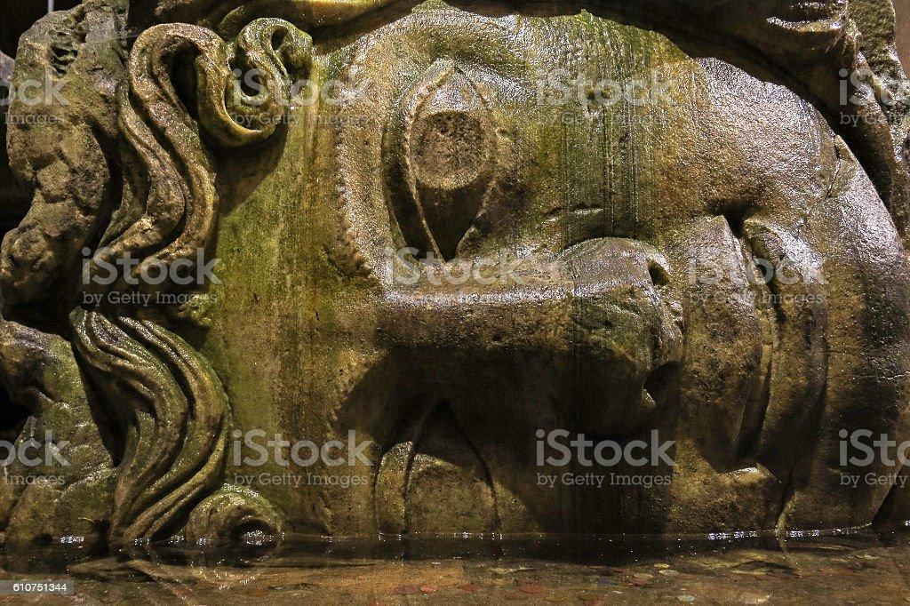 Medusa head in the Basilica Cisterna. Istanbul, Turkey. stock photo