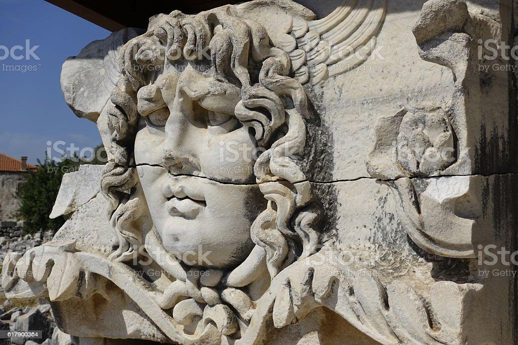 Medusa in the temple of Apollo in Didyma stock photo
