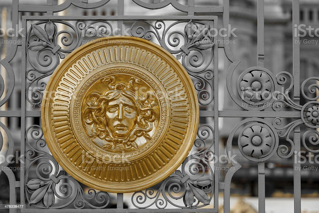 Medusa sign at Ananda Samakhom Throne Hall's gate royalty-free stock photo