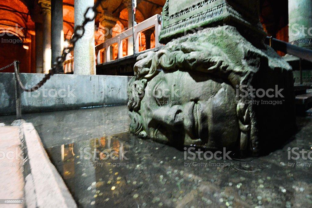 Medusa's Head, Basilica Cistern, Istanbul stock photo