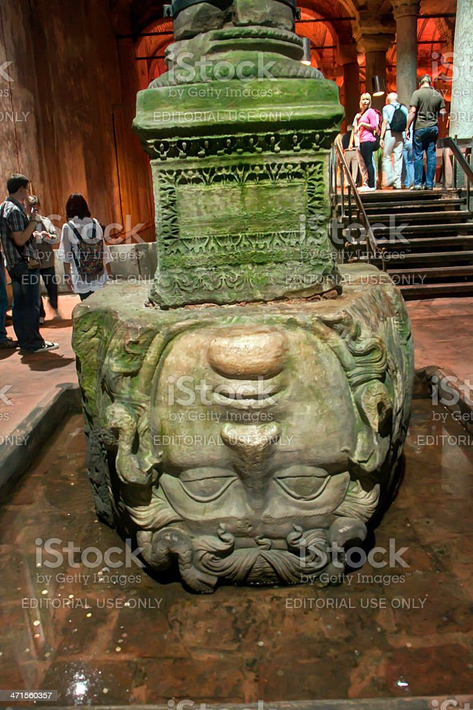 Medusa's head in the Bassilica Cistern, Istanbul, Turkey royalty-free stock photo