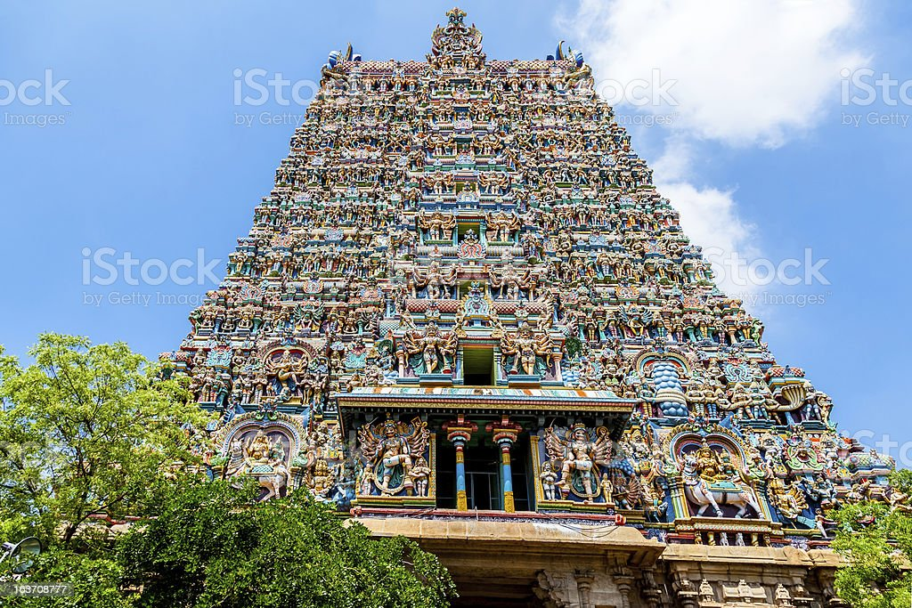 Meenakshi Hindu temple in  Madurai, Tamil Nadu, India stock photo