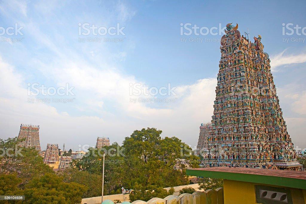 Meenakshi hindu temple in Madurai, Tamil Nadu stock photo