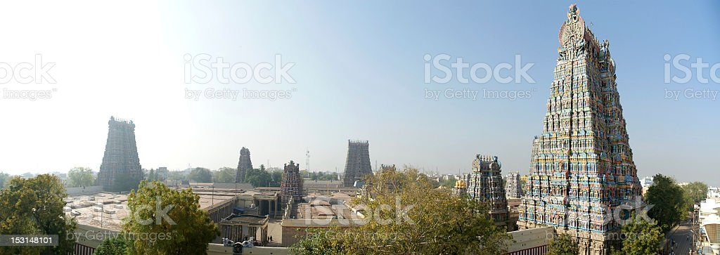 Meenakshi hindu temple in Madurai, Tamil Nadu, South India. Panorama stock photo
