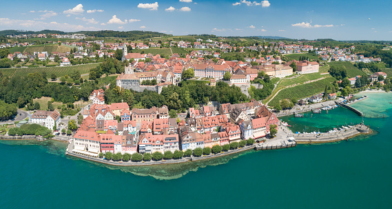 Huge aerial panorama of the historical town Meersburg by the beautiful Lake Constance, Bodensee. Converted from RAW.