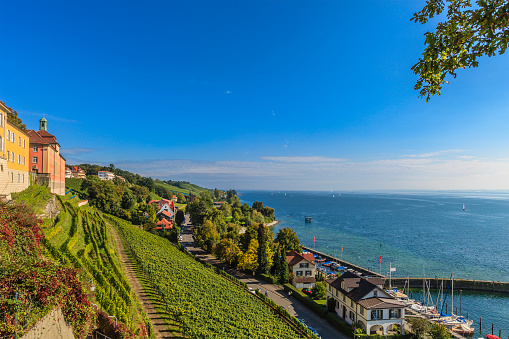 Meersburg is a medieval city overlooking Lake Constance, with a lower town and a upper town, both pedestrian and connected by stairways and steep alleys. Germany
