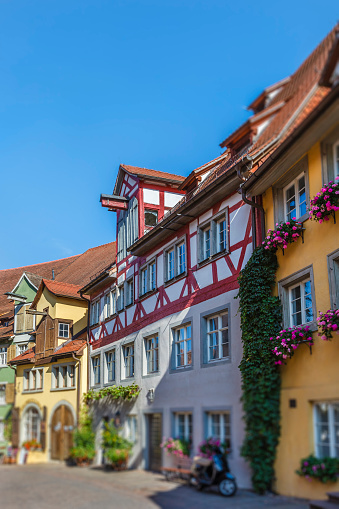 Meersburg is a medieval city with a lower town and a upper town, both pedestrian and connected by stairways and steep alleys. The city is rich in Half-timbered houses. Lake Constance, Germany. (selective focus)