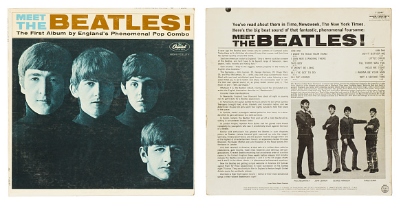 Los Altos, California, USA - October 2, 2011:  The front and back cover of the Beatles' first album, 'Meet The Beatles!', released in January 1964 by Capitol records.