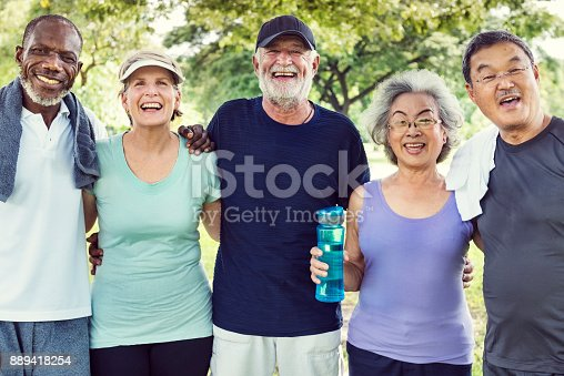 istock Meet Up Retired Wellbeing Pensioner Workout Concept 889418254