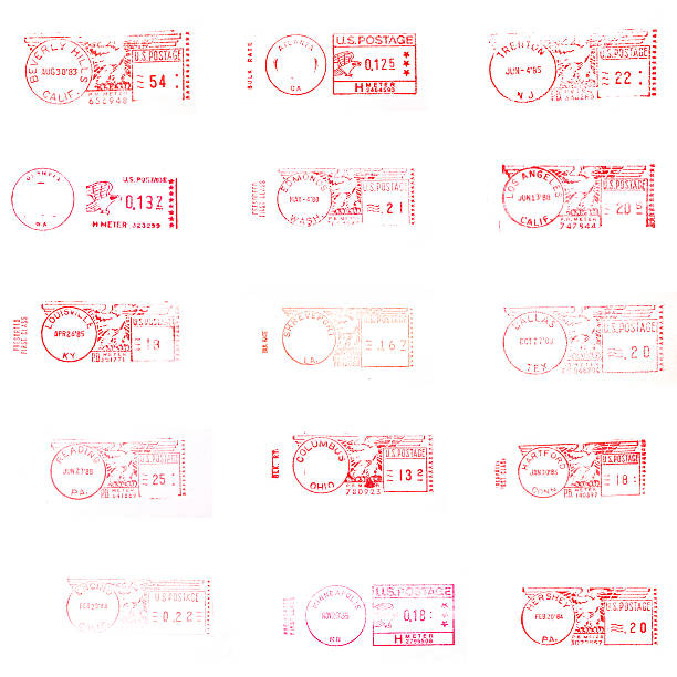 Meetered Postage A vareity of different postal marks from US cities. XX Large File. Isolated on white stamp stock pictures, royalty-free photos & images