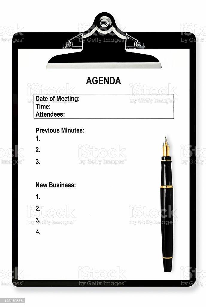 Meeting Agenda stock photo