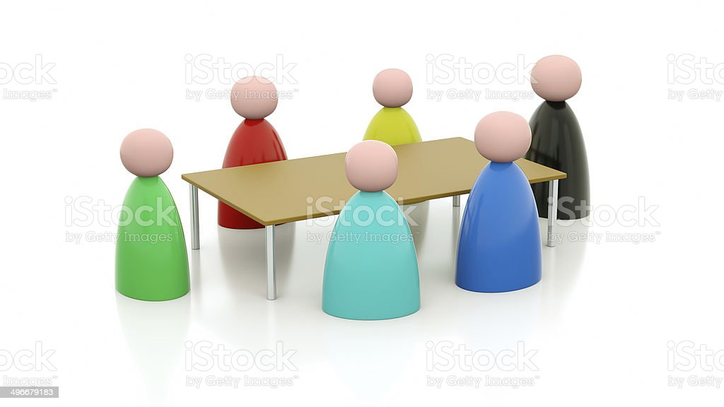 Meeting around a table stock photo