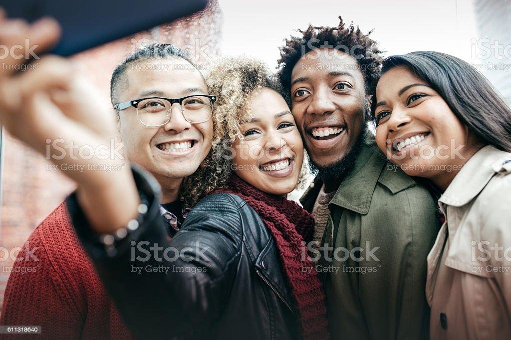 Meeting best friends online stock photo