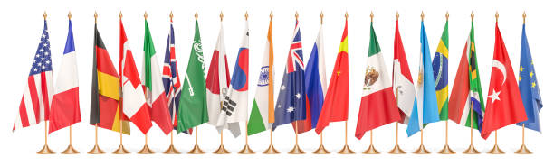 G20 meeting concept, row from flags of all members G20. 3D rendering isolated on white background G20 meeting concept, row from flags of all members G20. 3D rendering isolated on white background national flag stock pictures, royalty-free photos & images