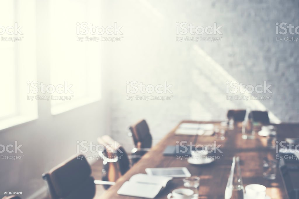 Meeting Conference Table Board Room Office Concept stock photo