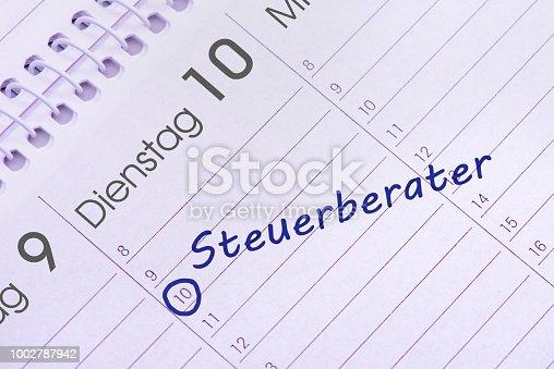 meeting date for tax advisor - in German language: Steuerberater
