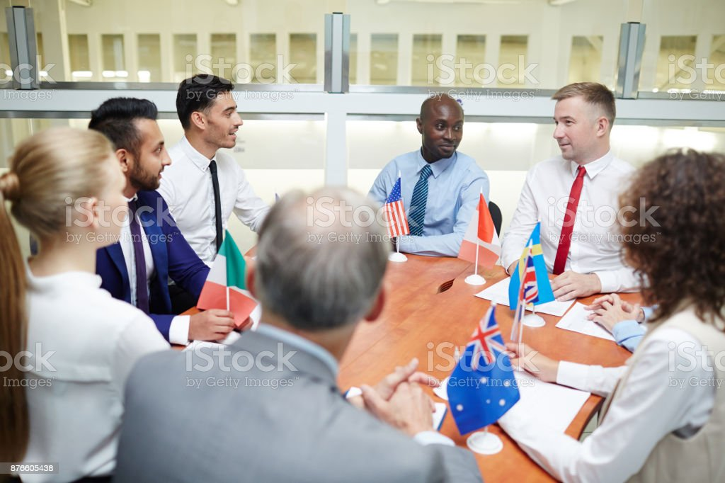 Meeting in boardroom stock photo