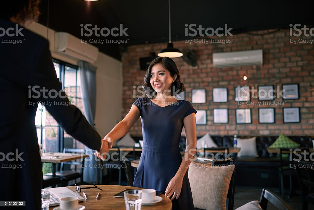 Meeting in cafe stock photo