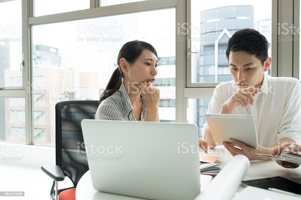 Meeting in stylish office. stock photo