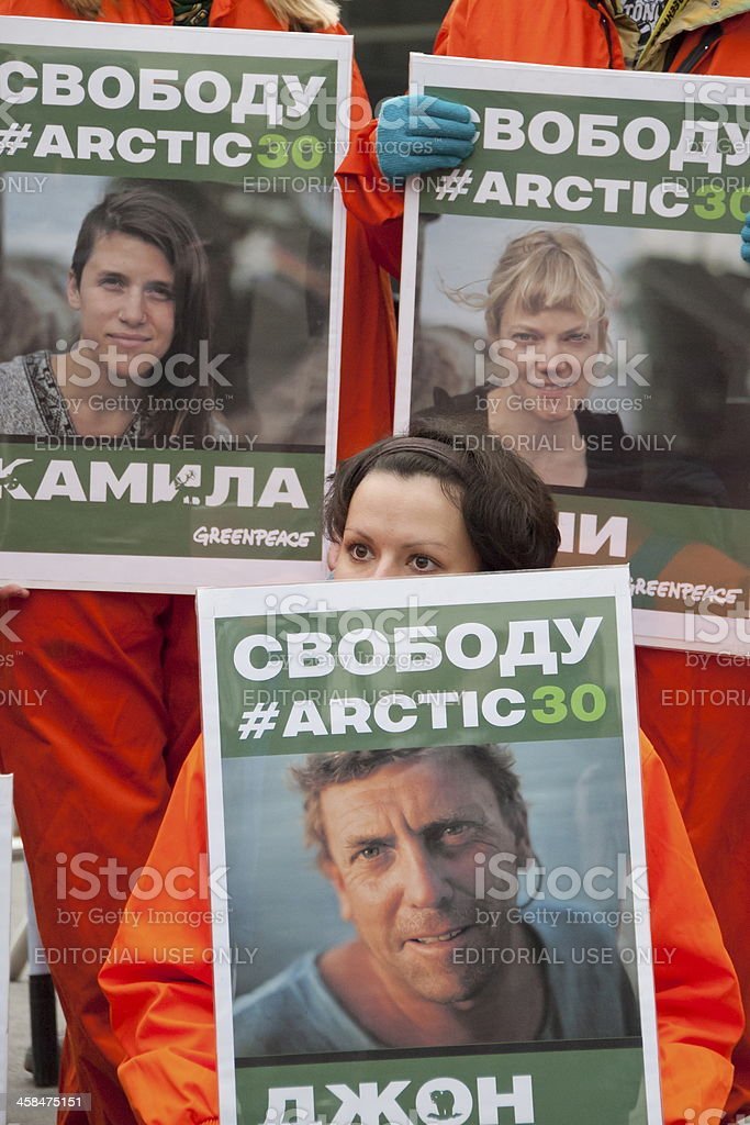 Meeting in support of 30 Greenpeace activists, Moscow, Russia. stock photo