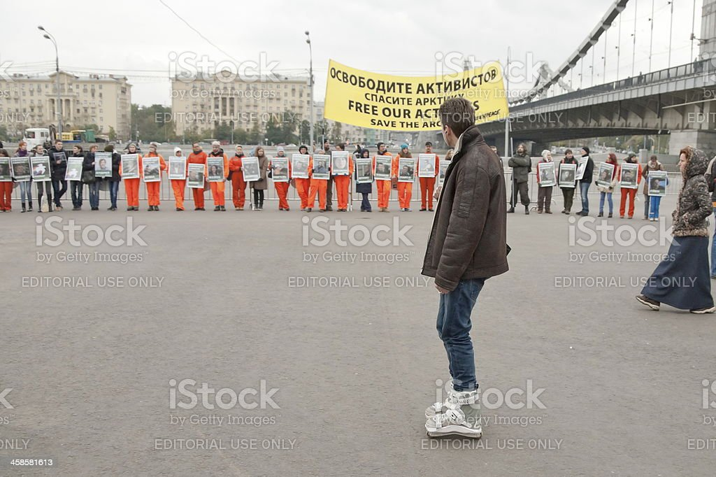Meeting in support of 30 Greenpeace activists, Moscow, Russia. royalty-free stock photo