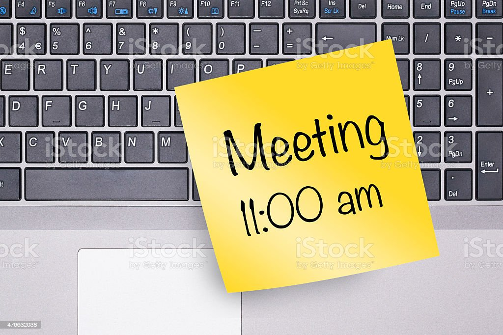 Meeting Note on Keyboard stock photo