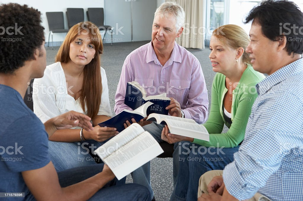 Meeting Of Bible Study Group stock photo