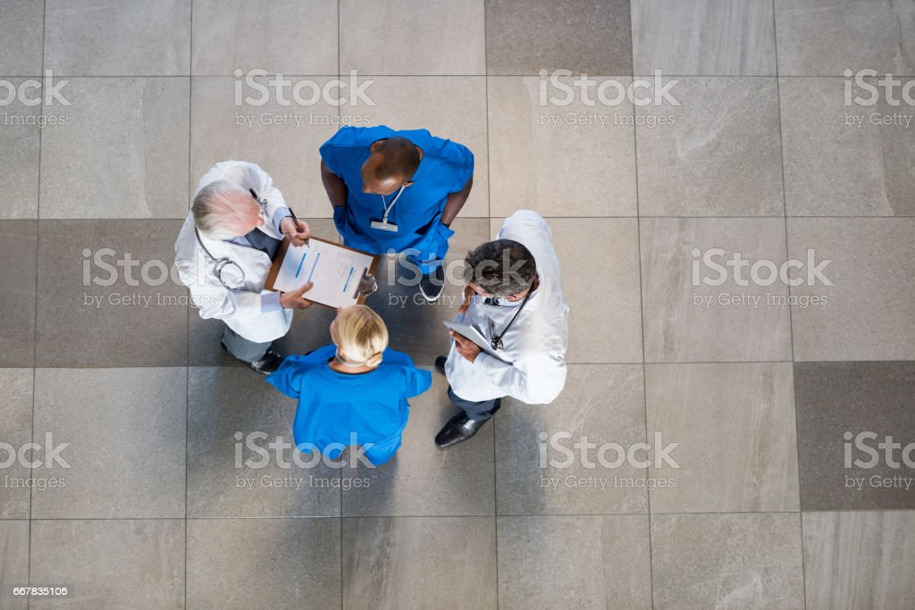 Meeting of docotrs and nurses stock photo