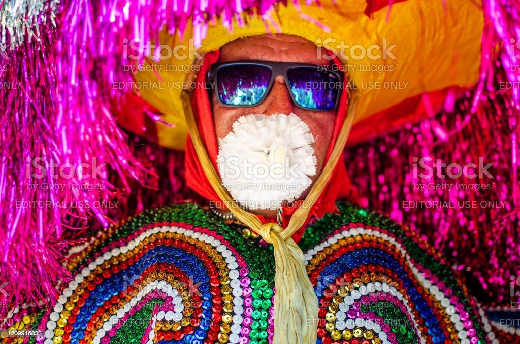 "Meeting of ""Maracatu Rural"" at the Carnival of Pernambuco, Northeast Brazil Tabajara City, Olinda, Pernambuco, Brazil. February 2020, Brazilian Carnival. Popular Culture, Meeting of ""Maracatus de baque solto"" (""rural maracatu""), music and dance typical of Pernambuco. Arts Culture and Entertainment Stock Photo"