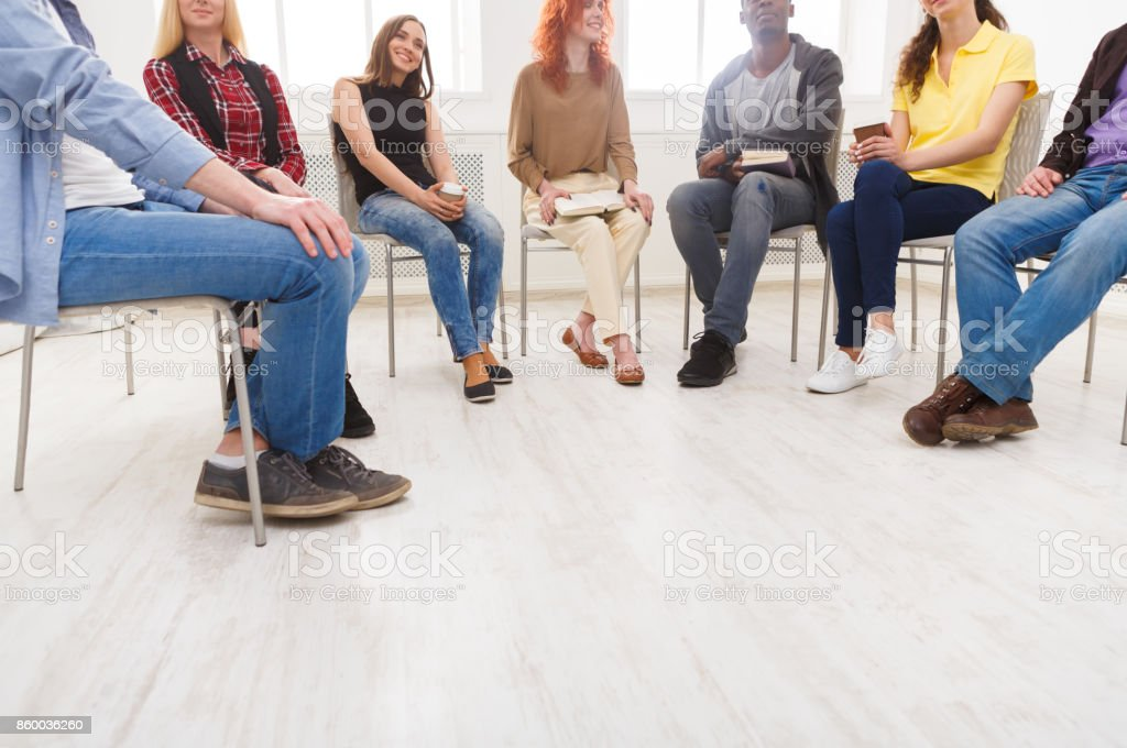 Meeting of support group, copy space stock photo
