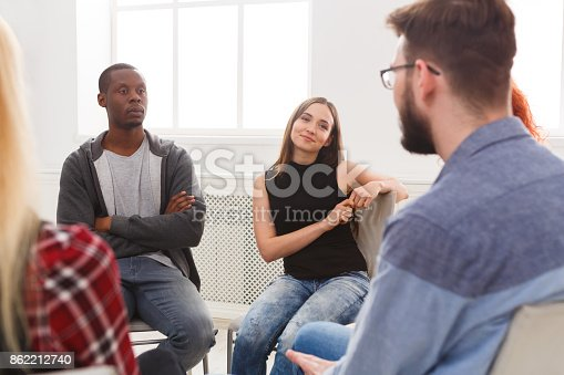 istock Meeting of support group, therapy session 862212740