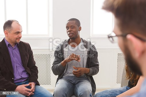 istock Meeting of support group, therapy session 862212902