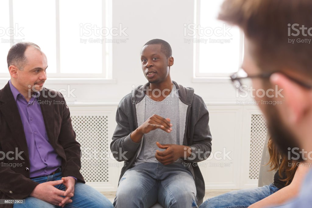 Meeting of support group, therapy session stock photo