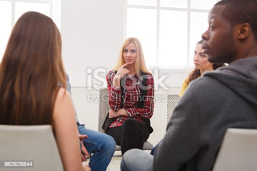 istock Meeting of support group, therapy session 862628844
