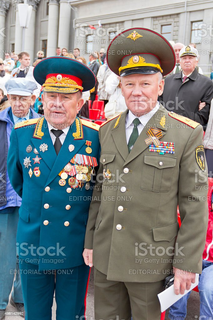 Meeting of two generals old friends on annual Victory Day stock photo