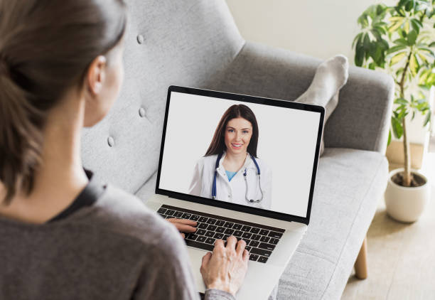 Meeting online, video chat consultation with doctor stock photo