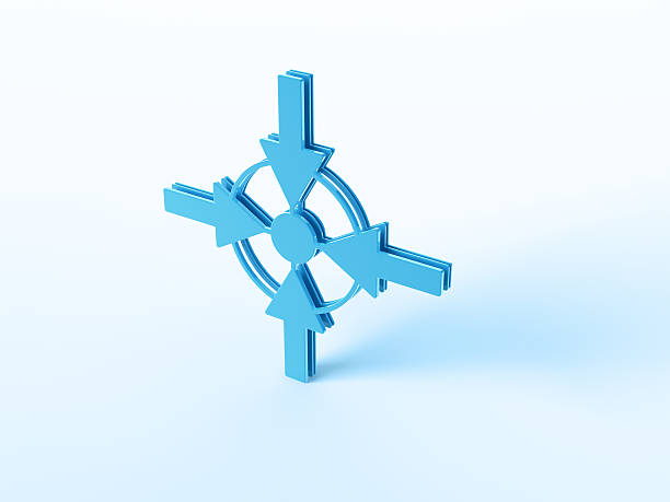 Meeting Point Symbol 3D Render of a blue Meeting Point Symbol with four arrows pointing to the center. Very high resolution available! Use it for Your own composings!Related images: blue 3d business NOT map NOT background stock pictures, royalty-free photos & images