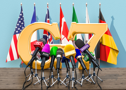 G7 Meeting Press Conference Concept 3d Rendering Stock Photo - Download Image Now