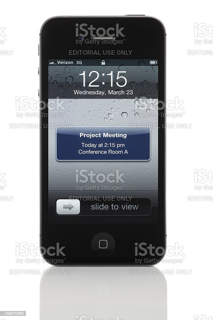 Meeting Reminder on Apple iPhone 4 stock photo