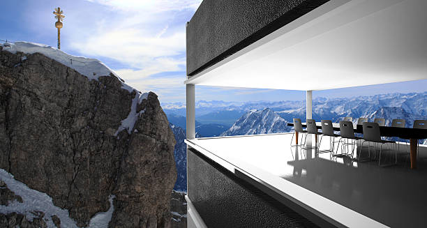 meeting room and winter snow covered mountain - hotel alpenblick stock-fotos und bilder