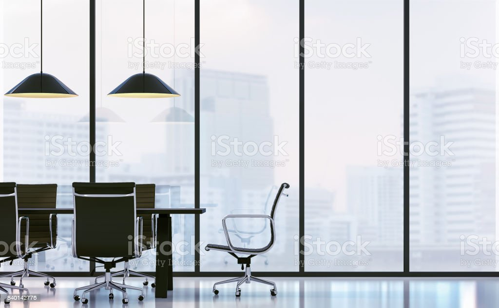 Meeting room in modern office 3D rendering image stock photo