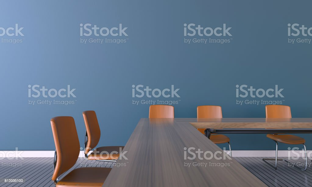 Meeting room Office and Orange chair on Wall stock photo