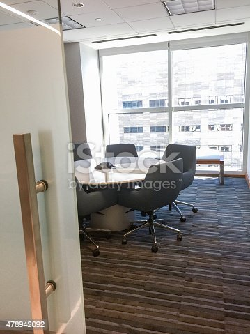 Table in meeting room with conference call device