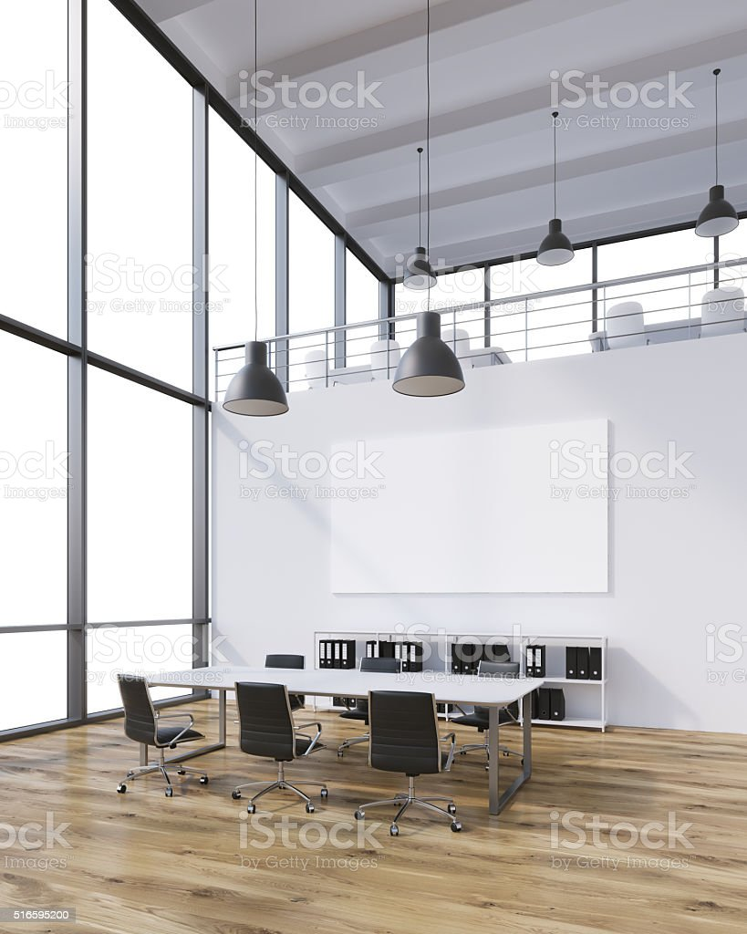 Meeting room with blank poster stock photo