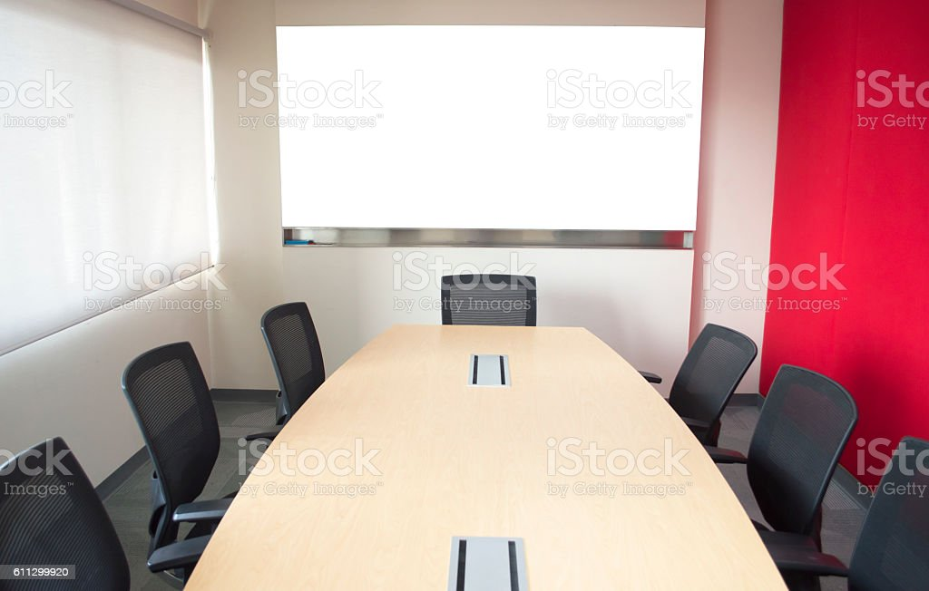 Meeting room with whiteboard stock photo