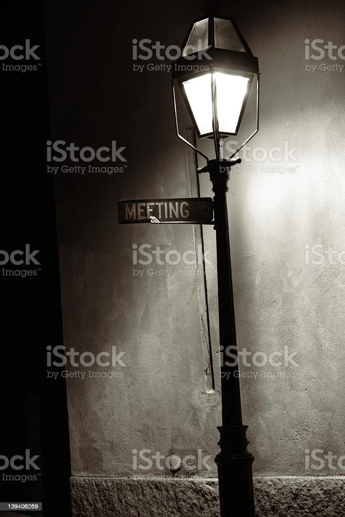 Meeting St Gas Lamp stock photo