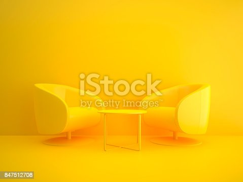 Meeting table concept in yellow isolated in studio shot
