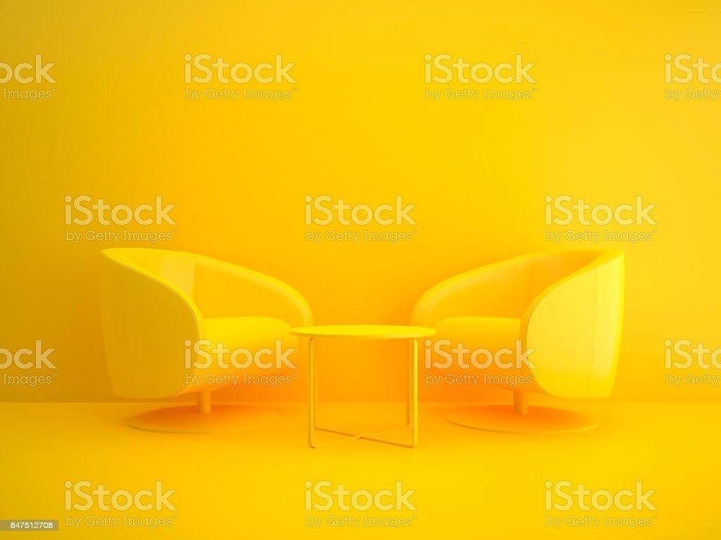 Mesa de reunión en amarillo - foto de stock